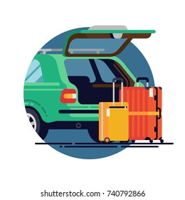 Vector flat design element on travel by car. Luggage carrying concept design with station wagon car with open trunk and suit cases. Car trunk with vacation suit cases