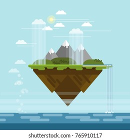 Vector flat design floating island with mountains, hills, waterfall to the sea and rainy clouds