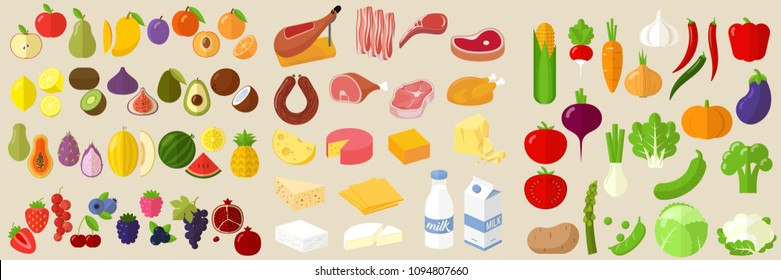 Vector flat design fruits, vegetables, milk. cheese, meat and sausage  icon set.