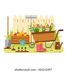 vector flat design, gardening. wagon with flowers, watering can, shovel, rake, fruit. country site