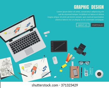 vector of flat design graphic concept for web banner.graphic design materials