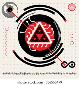 Vector Flat Design Head's Up Display Infographics Elements Set in Red White and Black Colrs. Abstract Futuristic Techno Alien Logo Symbols. HUD icons