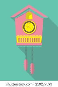vector flat design icon of a cuckoo clock