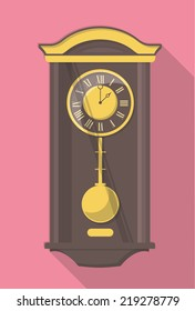 vector flat design icon of a vintage wall clock