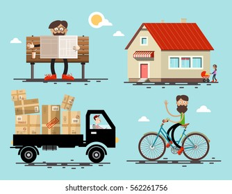 Vector Flat Design Icons Set. Man on Bicycle, Hipster on Bench Reading Newspapers, Delivery Service Car Driver and Mother with Baby Carriage by the House.