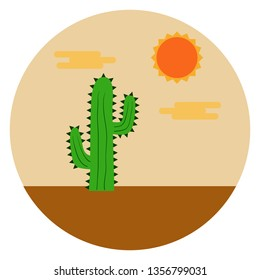 Vector flat design illustration of a cactus on the desert under hot sunny sky.