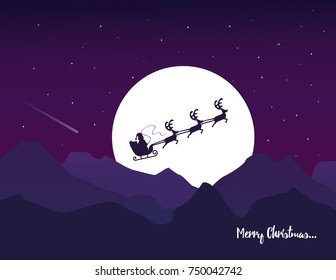 Vector flat design  illustration for Christmas greeting card. Santa's sleigh with reindeer on full moon, mountains and purple sky with stars background.