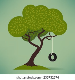 Vector flat design illustration on cartoon crooked tree with tire swing isolated