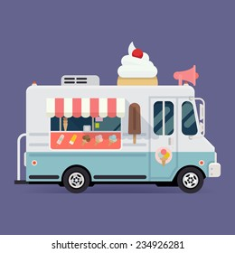 Vector flat design illustration on simplified ice cream truck, side view, isolated  | Retro looking ice cream van