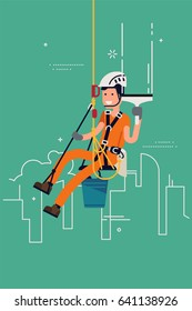 Vector flat design illustration on window cleaner industrial alpinist. Rope access technician cleaning high-rise windows. Rope access maintenance concept design with worker character