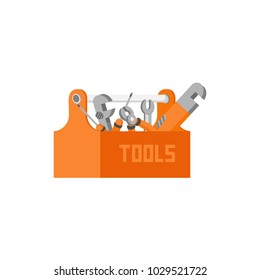 Vector flat design illustration set of craft, tools and equipment - screwdriver, wrench, spanner, pliers, monkey wrench, gas wrench, screw and toolbox.Isolated on stylish white background