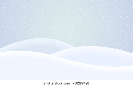 Vector flat design illustration of a snowy winter landscape with hills and snowflakes on a winter day under a gray sky - suitable for Christmas greeting