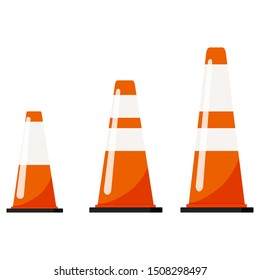 Vector flat design illustration of traffic orange color cones set with reflective stripes stickers isolated on white background. Plastic parking different size - small, medium, large cones signs.