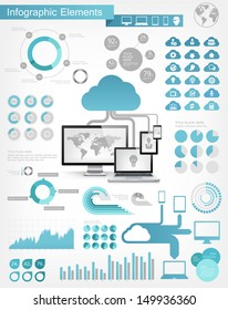 Vector flat design infographic elements collection. Cloud connected to devices vector illustration with various of infographic elements as charts, diagrams and infographic map for data visualization.