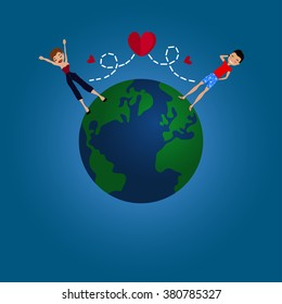 Vector Flat Design Long Distance Relationship Illustration with the Earth Globe, a Couple in Love and Red Hearts