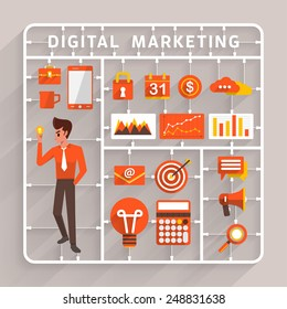 Vector flat design model kits for digital marketing.Element for use to success business and analysis information
