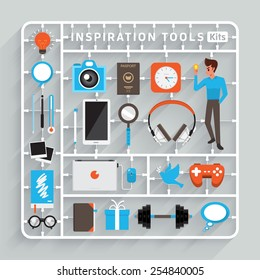 Vector flat design model kits for Inspiration Tools. Element for use to success creative thinking