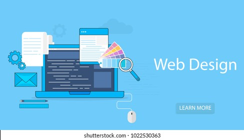 Vector flat design modern illustration icons set of webdesign tools, web designer process and infographic elements isolated on blue background background.