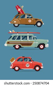 Vector flat design private transport icons on travel retro leisure cars featuring retro old surf cars and basket picnic small city vintage car