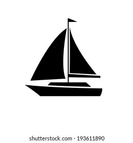 vector flat design sailing yacht boat transportation icon black isolated on white background