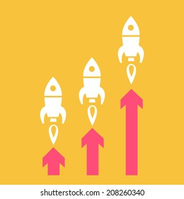 vector flat design start up business icon of three rockets launching graph | white isolated pictogram illustration on yellow background