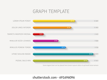 Vector flat design statistics column horizontal graph template for your infographics
