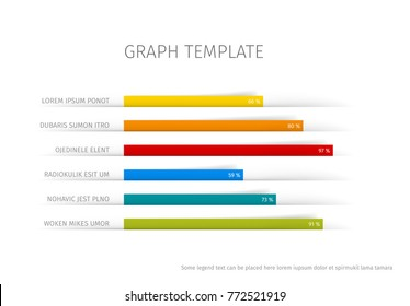 Vector flat design statistics column horizontal graph template for your infographics made from paper stripes
