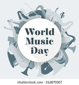 vector flat design world music day rounded poster illustration saxophone harp tuba trumpet violin xylophone light grey color background