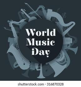 vector flat design world music day rounded poster illustration saxophone harp tuba trumpet violin xylophone dark grey color background