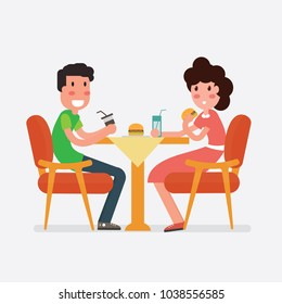 Vector flat design Young couple eating fast food in cafe or restaurant