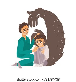 vector flat doctor calming down man suffering from depression, fear, male character sitting holding knees, monster shadow behind. Isolated illustration on a white background. Mental illness concept