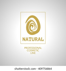 Vector flat eco product emblem. Ecological cosmetic sign. Eco badge, symbol. Finger stamp. Natural product line. Nature certificate quality. Natural cosmetics. Eco friendly logo. Bio organic product.