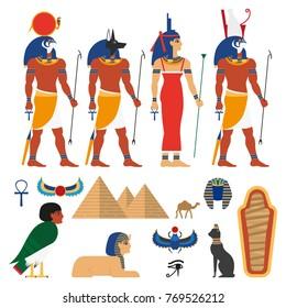 vector flat egypt gods, and sacred symbols set. Anubis - god with head of jackal or dog, Amon-Ra supreme god of sun, Horus god of sky, Isis, pyramid, sphinx, camel sarcophagus, scarab icon.