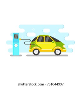 vector flat electric car charging at charging station. Alternative energy consuming yellow vehicle icon. Isolated illustration on a white blue abstract background.