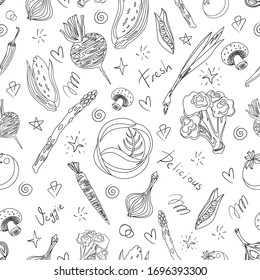 Vector flat farm vegetables sketchy seamless pattern in cartoon style on isolated white background.