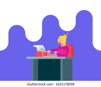 Vector flat female person sitting by the table typing on a typewriter illustration