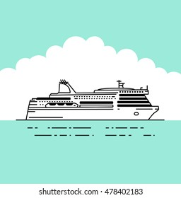 Vector flat ferry icon, ferry boat vector illustration in linear stile. Transportation Concept