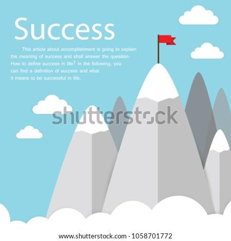 2d4e046b76f Success illustration. Goal achievement. Business concept. Winning of  competition or triumph design. our mission brochure title page template  vector ...