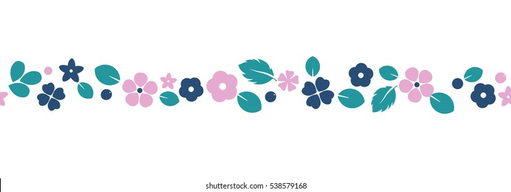 Vector flat flowers, leaves and berries color silhouette ornament. Creative design illustration for stickers, labels, tags, greeting cards, posters and banner design