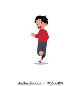 Vector flat frightened teenage boy running away. Male cartoon character chasing looking back scared, afraid of something in panik. Isolated illustration, white background.