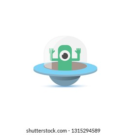 vector flat funny blue alien spaceship logo or label design template isolated on white background. cartoon ufo alien in space. funny flying saucer icon