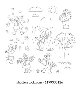 Vector flat funny kids having fun outdoor with autumn weather. Male, female characters, boy and girls playing with falling leaves, collecting mushroom, walking with umbrella holding pumpkin monochrome