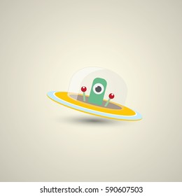 vector flat funny orange robot alien spaceship logo design template . cartoon ufo alien in space. funny flying saucer