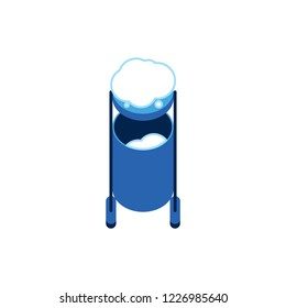 Vector flat garbage can, blue outdoor trashcan with snow icon. Rubbish, waste collecting container at winter. Junk bucket. Isolated illustration