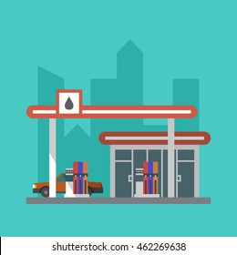 Vector flat gas filling station icon. Car at an oil station. Transport service building detailed illustration