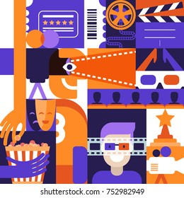 Vector flat geometric design elements for cinema, movie and entertainment theme. Concept for poster, entrance ticket, flyer. Man in 3d glasses, camera film, popkorn illustrations.