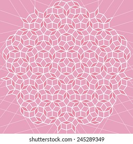 Vector flat geometric pink and white abstract mosaic tiling background. Ornament with white contour on rose backdrop. Package design. Advertising backdrop banner poster, leaflet, business card design.