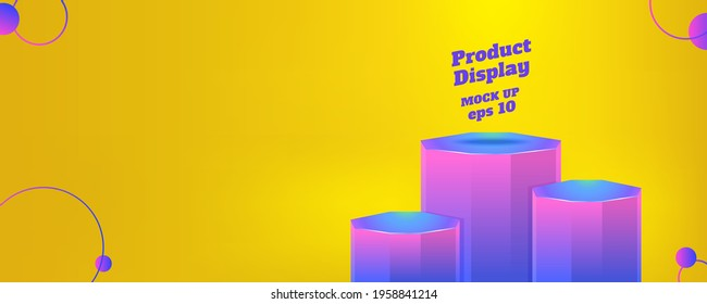 Vector flat geometric product display summer background, purple glow yelow color block studio kiosk.banner with copy space for display of product for advertise online