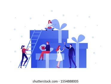 Vector flat gift box holiday people illustration. Business team celebrate sitting on huge gift boxes isolated on white background with snowflakes.