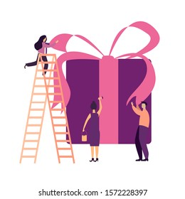 Vector flat gift box holiday people illustration. Business team prepares for the holiday huge gift box isolated on white background with pink ribbon. Vector illustration EPS10